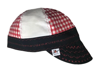 Red/White Checked Hybrid Welding Cap
