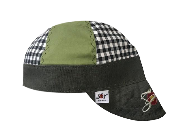 Moss & Black Mixed Panel Checked Embroidered Hybrid Welders Cap