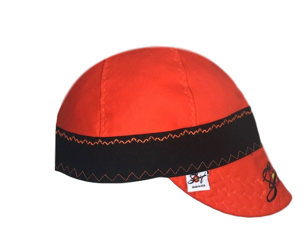 Blaze Orange/Black Embroidered Canvas Welders Cap
