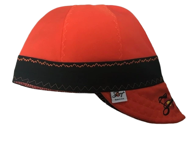 Safety Orange/Black Pre Washed Size 7 1/8 Canvas Welding Caps