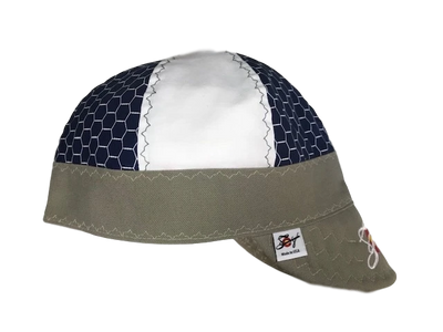 Navy HoneyComb & Khaki Embroidered Hybrid Welding Cap