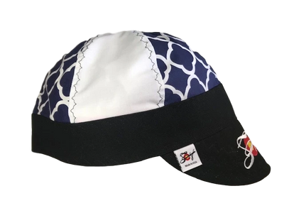 Navy Quatrefoil & Black Embroidered Hybrid Welding Cap