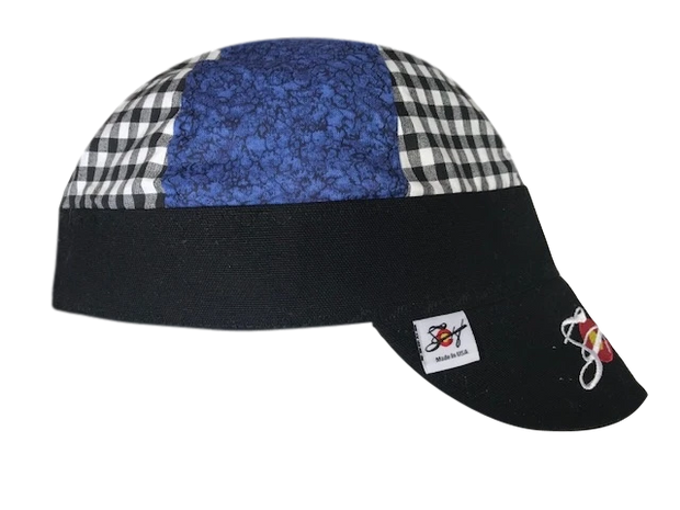 Mixed Black Checked/Blue Embroidered Hybrid Welders Cap