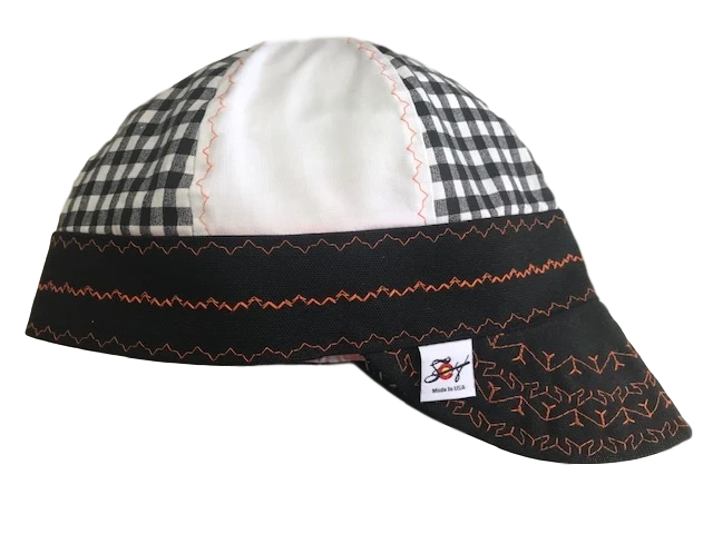 Black/White/Orange Combo Size 7 1/2  Hybrid Welding Cap