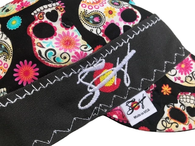 Sugar Skull Embroidered Size 7 1/2  Hybrid Welding Cap