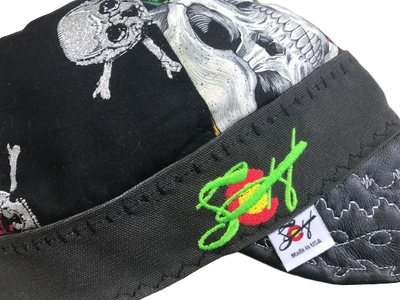 Metallic Skull/Roses Leather Billed Size 7 1/2  Hybrid Welding Cap