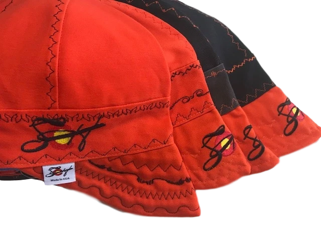 4 Pk. Orange/Black Combo Size 7 1/4 Canvas Welding Caps
