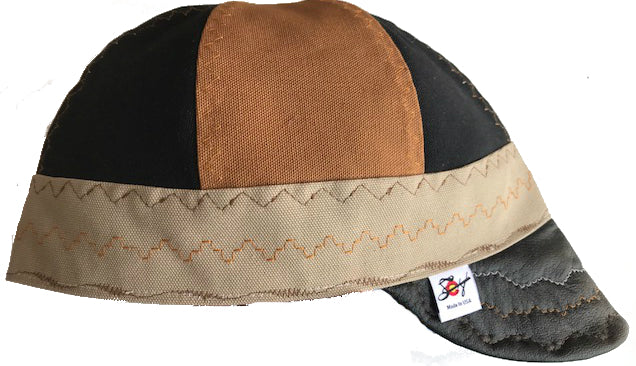 ♠ Leather Bill ♠ Size 7 1/2 Prewashed Canvas Welding Cap