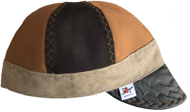 ✺Black Leather Bill✺Size 7 1/2 Prewashed Canvas Welding Cap