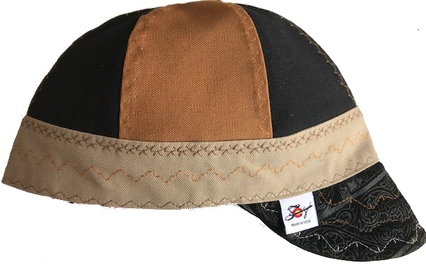 ✤Black Patterned Leather Bill✤ Size 7 1/2 Prewashed Canvas Welding Cap