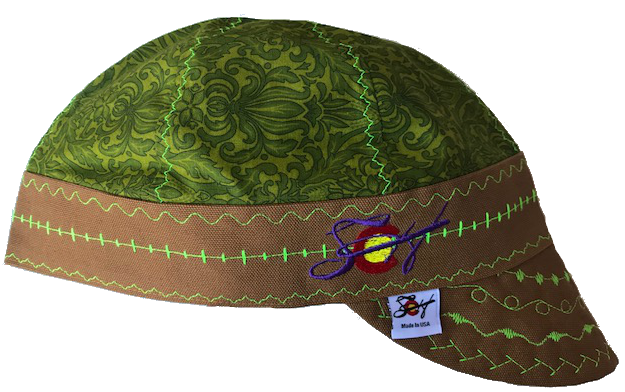 ☙Floral Green❧ Unique Hybrid Welding Cap
