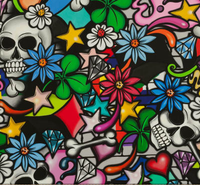Day of the Dead Pinup, Skulls Street Graffiti & Marilyn Monroe 100% Cotton Bandanna