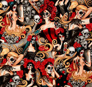 Day of the Dead Pinup, Skulls Street Graffiti 100% Cotton Bandanna