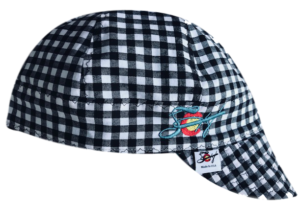 ⌘ Black Checkered ⌘ SoCo Logo Embroidered Cotton Welders Cap