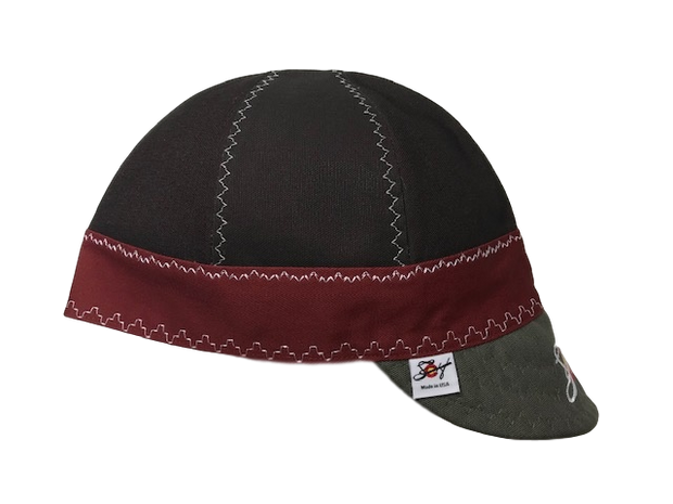 Chocolate Brown/Burgundy/Olive Embroidered Size 7 3/4 Prewashed Canvas Welding Cap