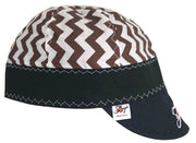 Chocolate Brown Chevron  Embroidered Size 7 1/2 Hybrid Welding Cap