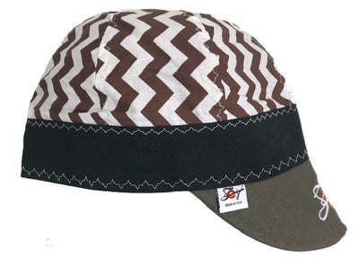 Chocolate Brown Chevron/Olive Bill Embroidered Size 7 1/2 Hybrid Welding Cap