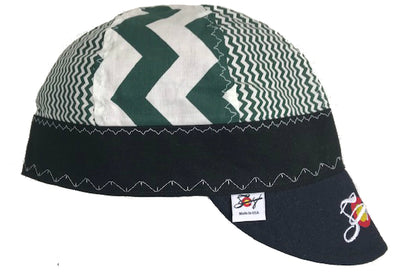 Mixed Panel Kelly Green Chevron Embroidered Size 7 1/2 Hybrid Welding Cap