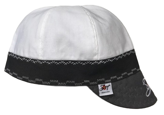 White/Grey Embroidered Size 7 3/4 Prewashed Canvas Welding Cap