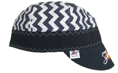 Navy & Black Chevron Embroidered Size 7 1/2 Hybrid Welding Cap