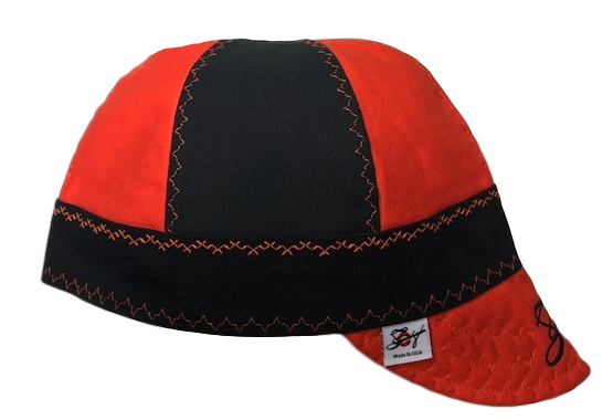 Two Tone Orange Mixed Panel Embroidered Size 7 3/4 Prewashed Canvas Welding Cap