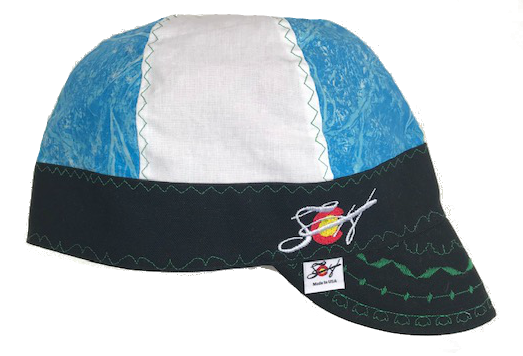 Marbled Blue & White Embroidered Size 7 1/2 Hybrid Welding Cap