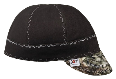 Chocolate Brown Canvas W/Camo Bill Size 7 3/4 Prewashed Canvas Welding Cap