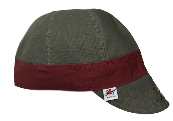 Olive & Burgundy Size 7 3/4 Prewashed Embroidered Canvas Welding Cap