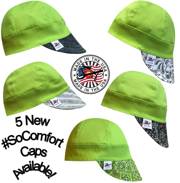 Neon Green #SoComfort Welders Cap W/FR Bill Custom Embroidery Now Available! Pick your Poison!!