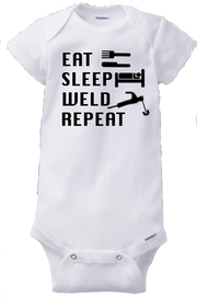 Eat Sleep Weld Repeat Welder Infant Onesie