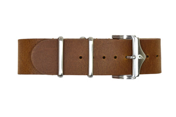 Premium leather Nato strap Brown