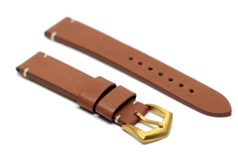 BOLDR Voyager Brown Leather Strap with Brass Buckles (20mm)
