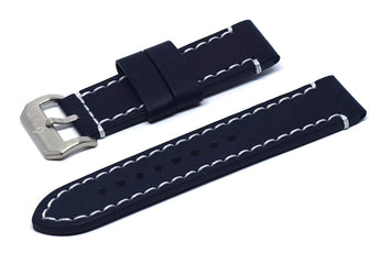 BOLDR Odyssey Leather Strap (Blue/White) (22mm)