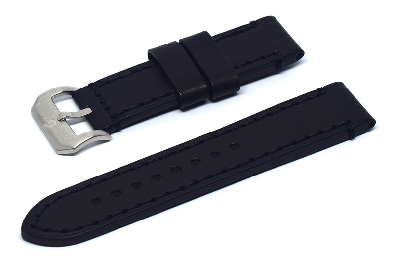 BOLDR Odyssey Leather Strap (Black/Black) (22mm)