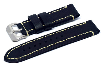 BOLDR Odyssey Leather Strap (DistressedBlack/Cream) (22mm)