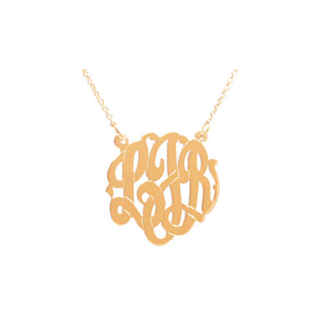 Gold Script Monogram Necklace