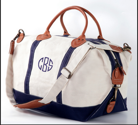 Monogrammed Weekender Canvas Duffel Bag CHOOSE YOUR COLOR