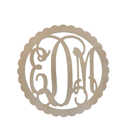 "22"" Scallop Wood Monogram"