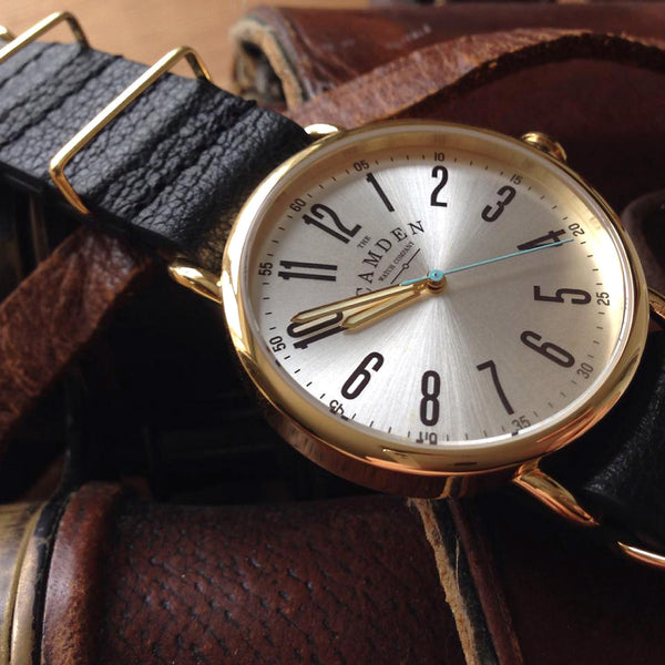 Camden Watch_NO88_簡約時刻個性真皮腕錶 Gold and Black Leather