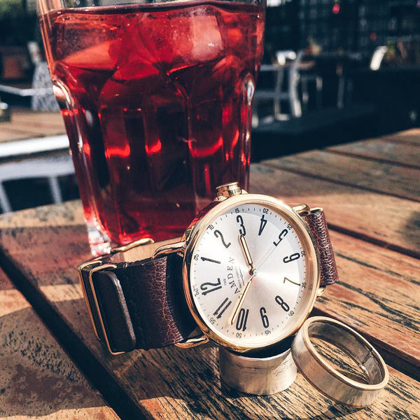 Camden Watch_NO88_英倫時尚玩味個性真皮腕錶 Gold and Brown Leather