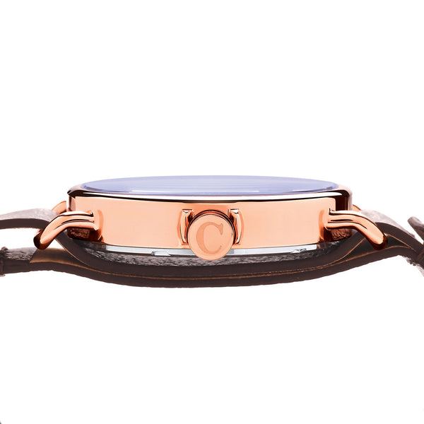 Camden Watch_NO88_極簡現代時尚真皮腕錶 Rose Gold and Brown Leather