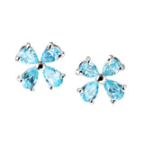 Large Silver and Blue Cubic Zirconia Flower Petal Stud Earrings