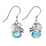 Silver and Aquamarine Blue Cubic Zirconia and Pearl Drop Earrings