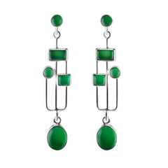 Green Chalcedony Arts & Crafts Earrings