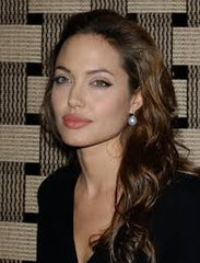 Angelina Jolie wearing pearl earrings