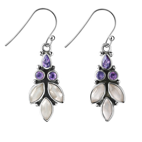 Franki Baker Amethyst Gemstone & Sterling Silver Chandelier Drop Earrings 2hs7w0J