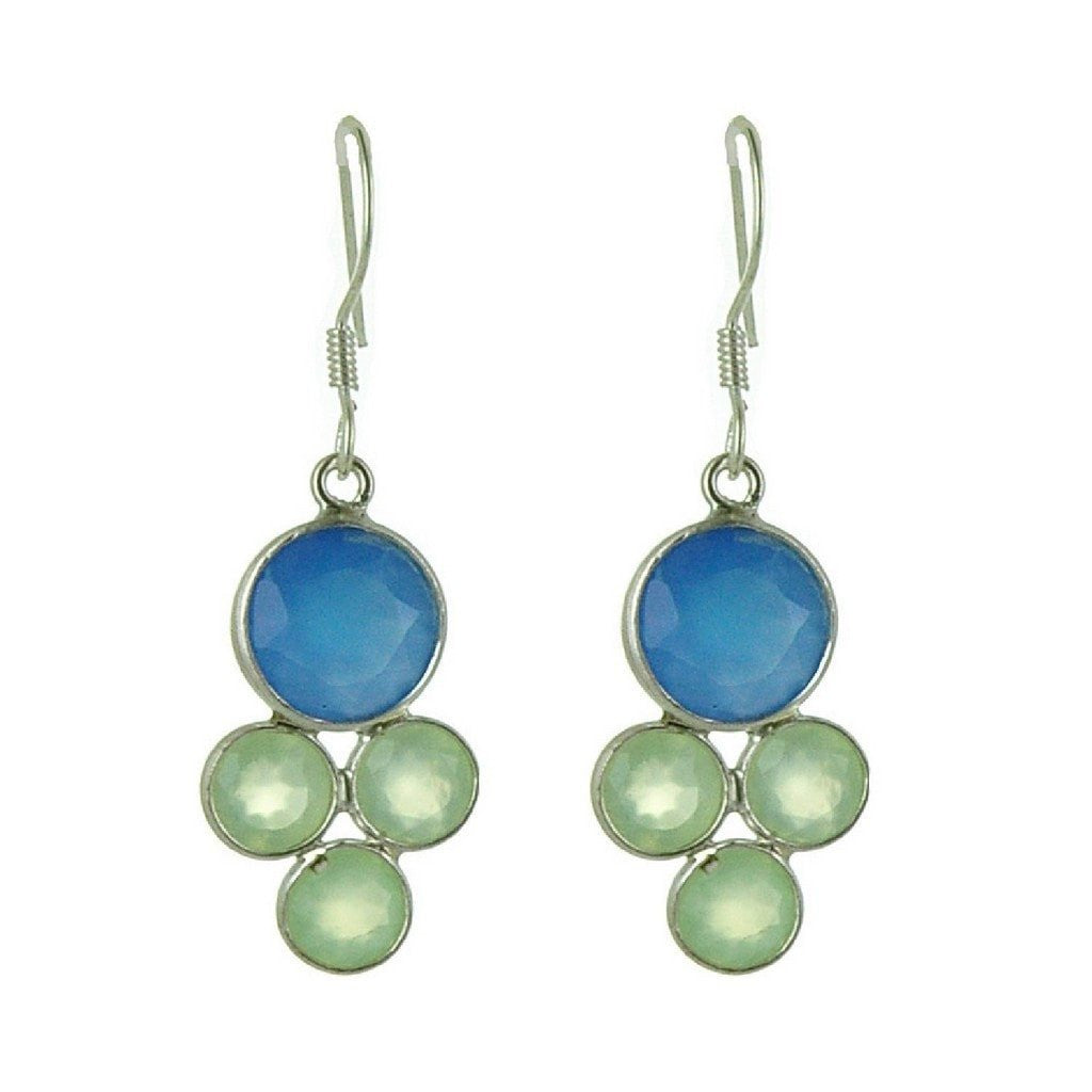 Franki Baker Facetted Pretty Blue-Green Chalcedony and Silver Drop Earrings. Length: 4cm 31T8N2S