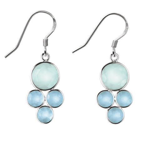 Franki Baker Facetted Pretty Blue-Green Chalcedony and Silver Drop Earrings. Length: 4cm KVXBl