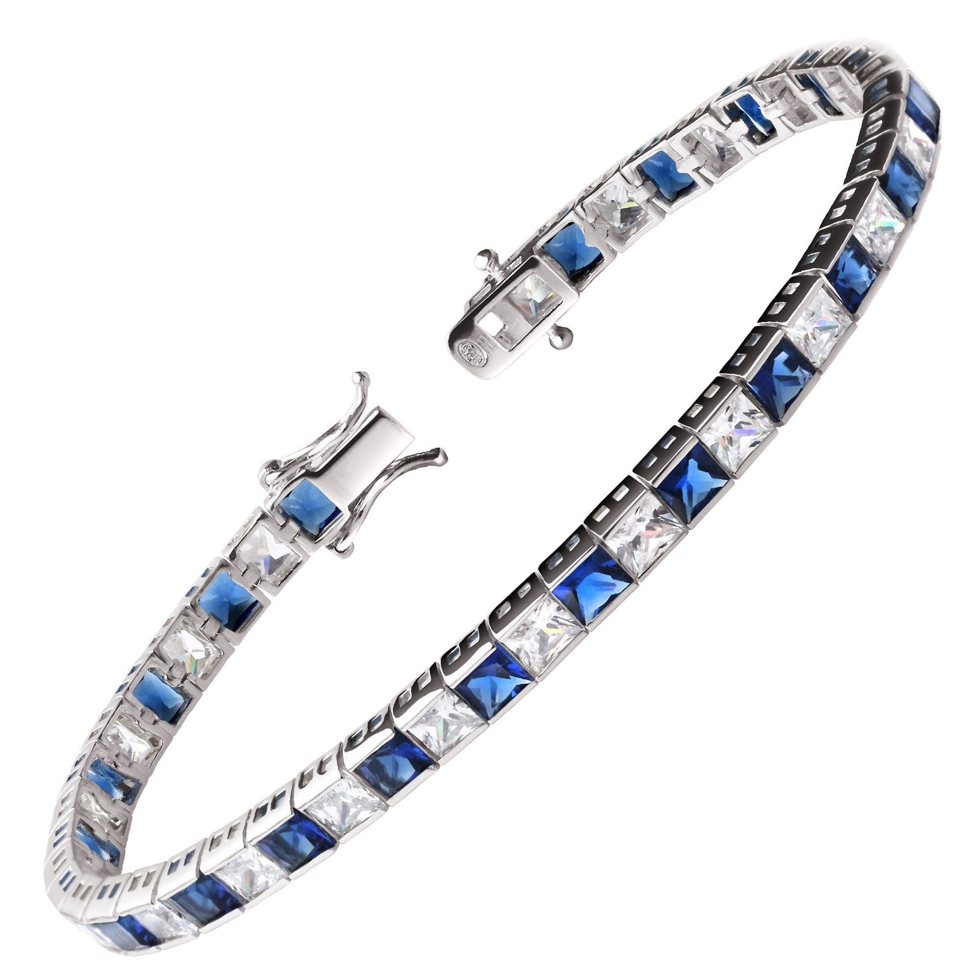 diamond white sapphire gold tennis bracelet and