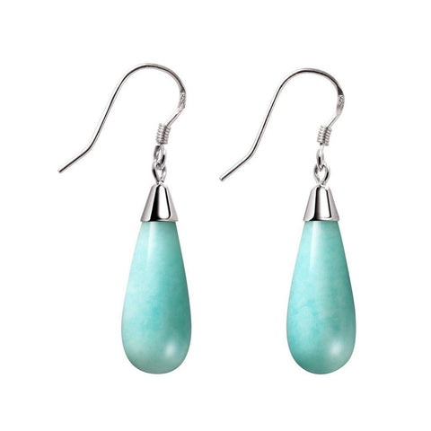 Franki Baker Turquoise Amazonite CZ Sterling Silver Drop Earrings Gem Grade: A. Length 3cm mI1214ia